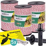 3x VOSS.farming schrikdraad 400 meter, wit/rode draad met 3x 0.20 RVS en 3x 0.25 koper + toebehoren