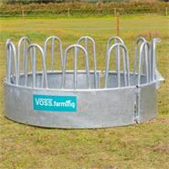 VOSS.farming ronde balenruif, hooiruif, ronde ruif met 12 voederplaatsen en palissaden voederruif