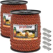 2x VOSS.farming schrikdraad koord 6mm, 400 meter oranje/bruin + 5x RVS koordverbinder + waarschuwing