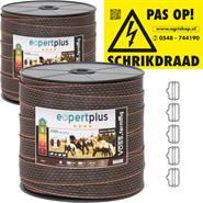 2x VOSS.farming schriklint 40mm, 200 meter bruin/oranje + 5x RVS lintverbinder + 1x waarschuwingsbor