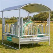 VOSS.farming hooiruif 2x2m met dak en palissadenvoederruif + GRATIS voedernet + frame