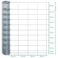 VOSS.farming Classic wildgaas, geknoopt gaas, afrasteringsgaas 50m, hoogte 150cm - 150/12/30