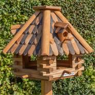 """VOSS.garden vogelhuis """"LilleHus"""", hoogwaardig vogelhuis met houten dakshingles ( met  opstelvoet)."""