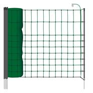 VOSS.PET schrikdraadnet 50 meter, donker groen 65 cm kleindiernet, afrasteringsnet met zwarte opstel