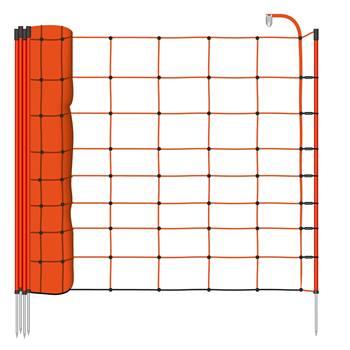 28945-1-voss.farming-basic-schrikdraadnet-50mtr-oranje-90cm-schapennet-met-oranje-opstelpalen-met-en
