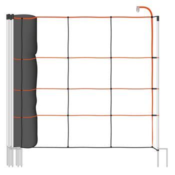 VOSS.farming TitanLight net 50m schapennet,schrikdraadnet, 90cm, 14 palen, dubbele pen, oranje-zwart