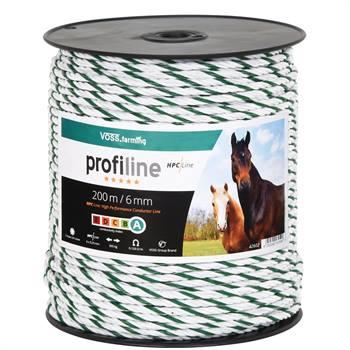 VOSS.farming schrikdraadkoord 6mm, 200 meter, wit / groen met 6x 0,25 HPC® geleiders