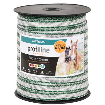 VOSS.farming schrikdraad lint 200m, 20mm, 6x0,40 HPC/Ultra, wit-groen