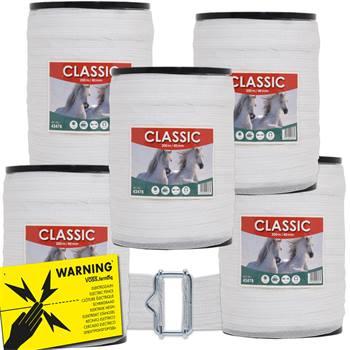 43478-1-5er-spaarpack-schrikdraadbant-classic-voor-de-paardenomheining-40mm-wit-met-waarschuwingsbor