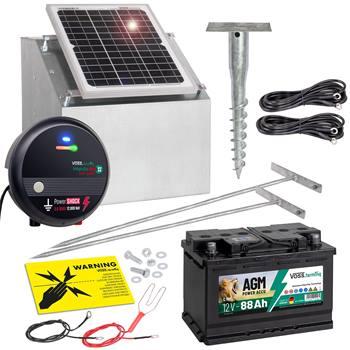 VOSS.farming set: 12W Solarsysteem + Box + 12V schrikdraadapparaat impuls duo DV40 + 88Ah Accu
