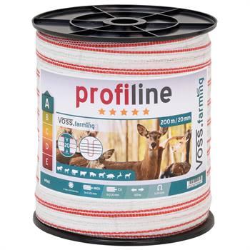 VOSS.farming schrikdraad lint 20mm, 200 meter wit / rood lint met 1x 0.30 koper en 5x0.2 RVS geleide