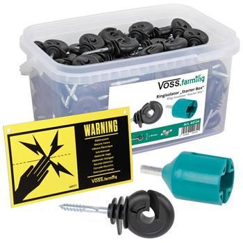 150x VOSS.farming ringisolator met doorlopende kern, inclusief inschroefhulp en waarschuwingsbordje