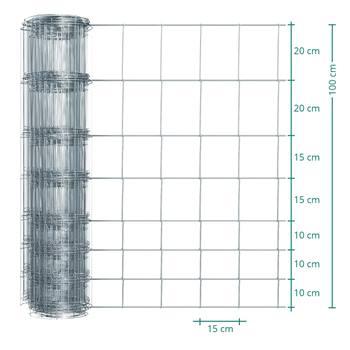 50 meter VOSS.farming Premium kwaliteit schapengaas, wildgaas, geknoopt gaas, hoogte 100cm-100/08/15