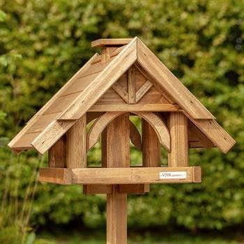 Vogelvoederhuis VOSS.garden Finkenheim, houten voederstation voor tuinvogels, incl. opstelvoet