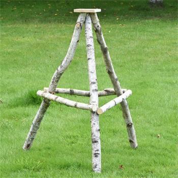 Vogelvoederhuis standaard van berkenhout, licht model, 100cm.