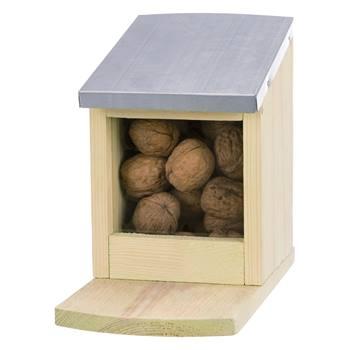 Voerstation voor eekhoorns, grenen hout/metaal, 12 x 18 x 24cm